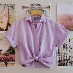 Vintage 90s Lilac Cotton Buttonfront Blouse